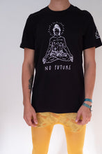 "Load image into Gallery viewer, Black T-shirt, ""No future, just yoga"""
