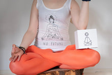 "Load image into Gallery viewer, White top, ""No future, just yoga"""