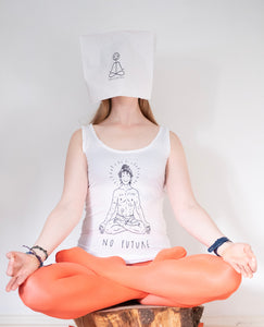 "White top, ""No future, just yoga"""