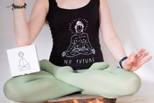 "Load image into Gallery viewer, Black top, ""No future, just yoga"""