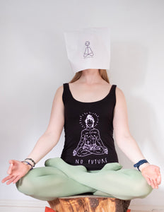 "Black top, ""No future, just yoga"""