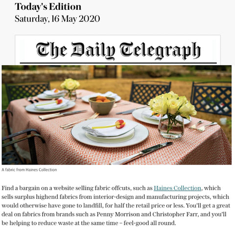 The Daily Telegraph include the Haines Collection rescued fabric for tablescaping and table covering