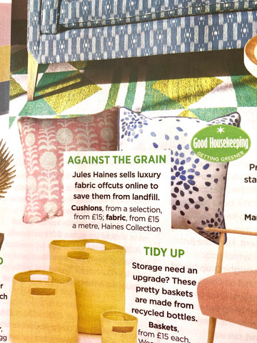Good House Keeping Magazine feature for Haines Collection Upcycled Textiles Cushion