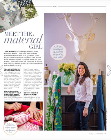 SO Magazine feature the Haines Collection upcyled fabrics saved from landfill