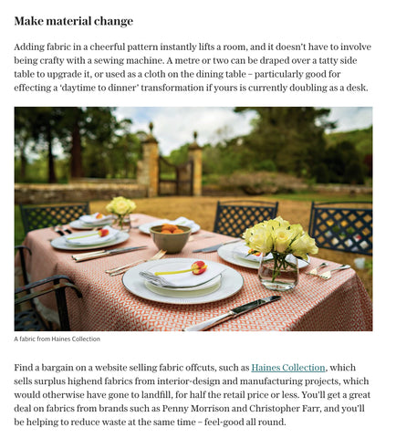 The Telegraph Magazine feature Haines Collection for tablescaping and table coverings