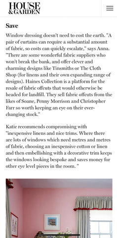 House and Garden Newsletter featuring the Haines Collection recyled fabrics