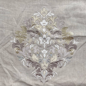 Embroidered Floral Motif on Natural Linen