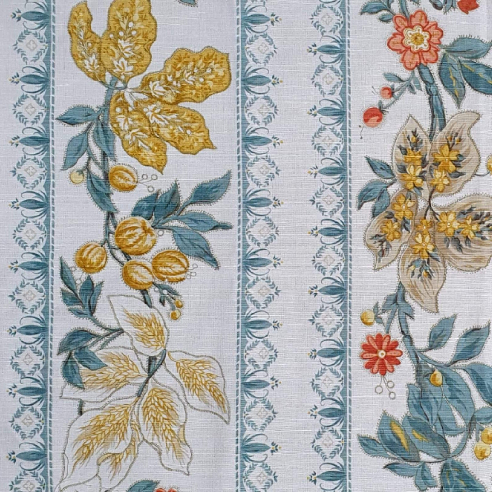Bennison Wheatflower Border - Mustard and Blue