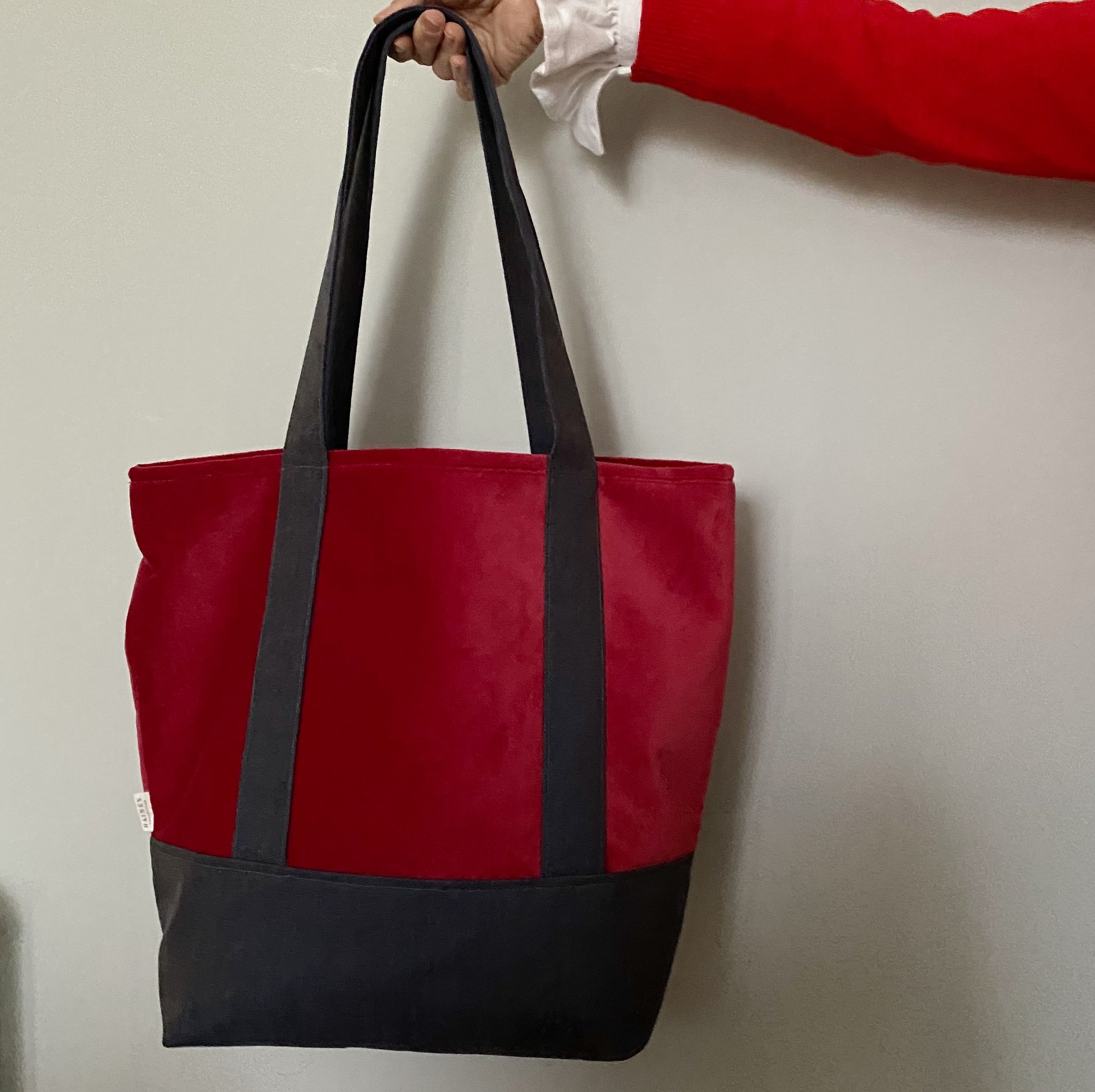 Velvet and Wool Tote Bag - Red