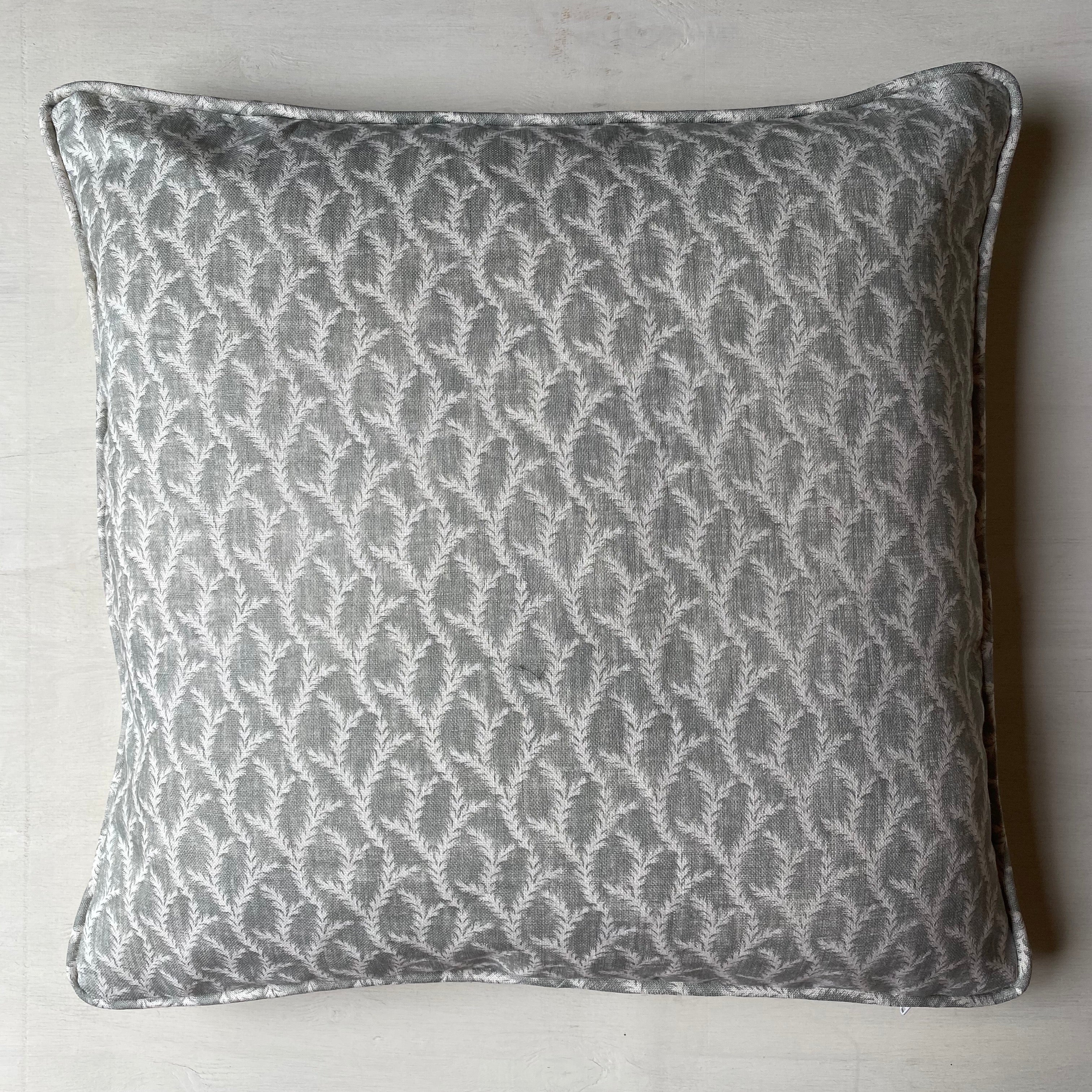 Feathery Vine Cushion - Grey