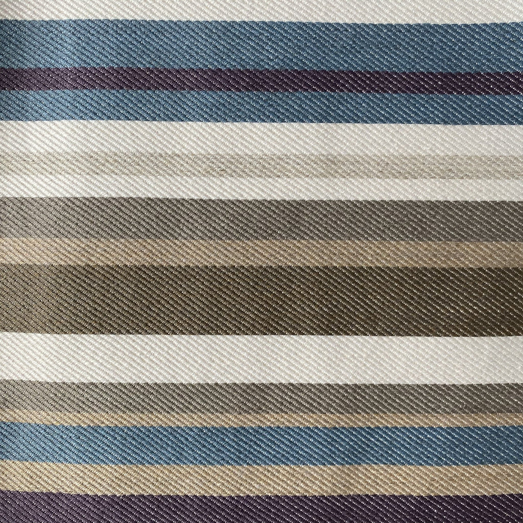 George Smith Woven Striped Linen Thames - Multi - Chocolate, Navy and Teal