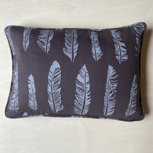 Korla Feathers Rectangular Cushion - Blue