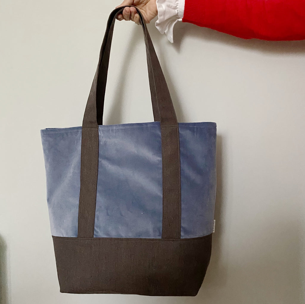 Velvet and Wool Tote Bag - Blue