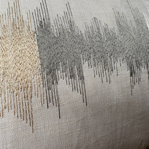Embroidered Lines Rectangle Cushion - Taupe and Grey