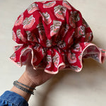 Bath Cap - Block printed Flower Red