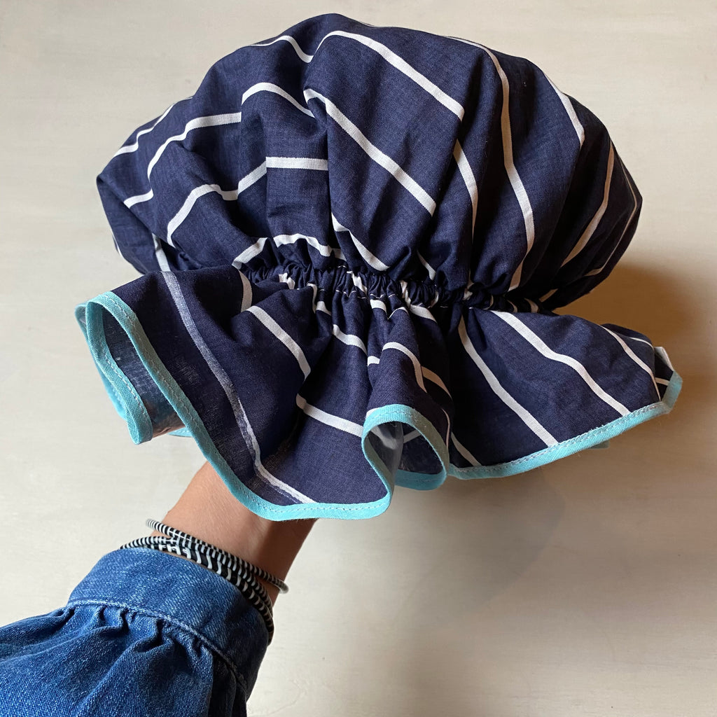 Bath Cap - Navy Stripe