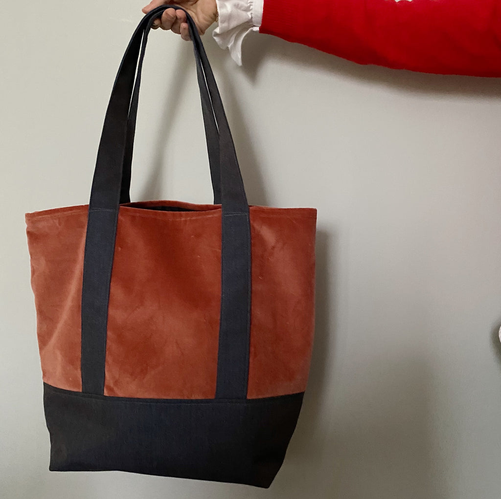 Velvet and Wool Tote Bag - Orange