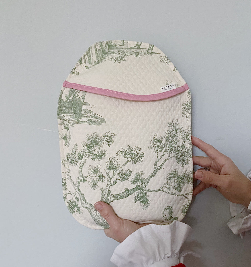 Eco Hot Water Bottle and Cover - Green Toile