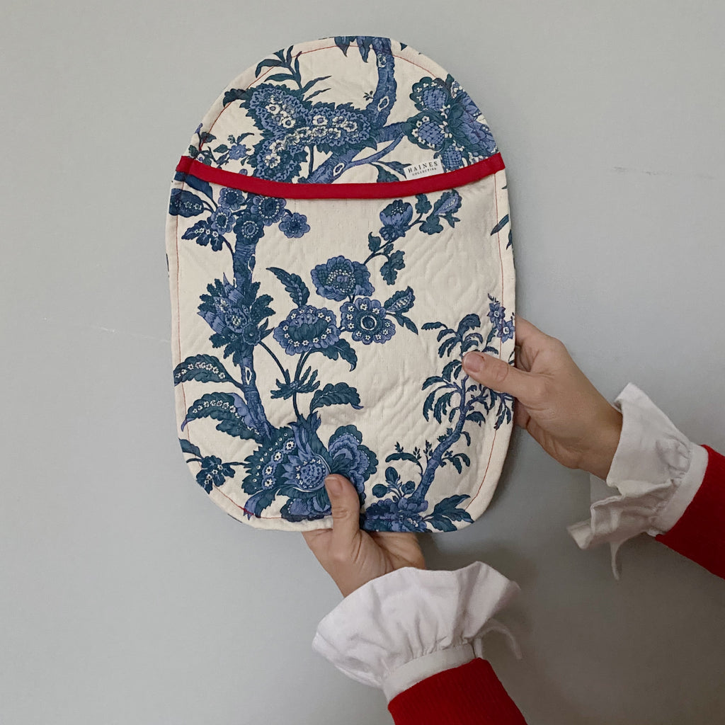 Eco Hot Water Bottle and Cover - Blue Toile