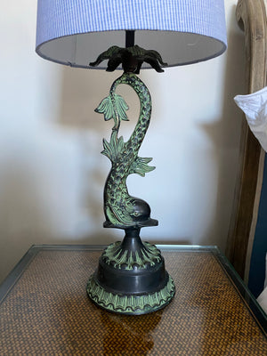 Fethertonhaugh Brass Fish Lamp - Green Finish
