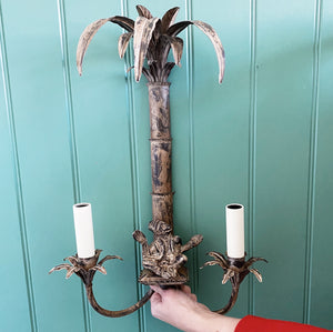 Richard Taylor Designs Palm Tree and Monkey Wall Light