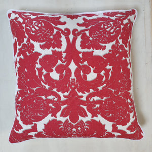 Large Floral Cushion - Red