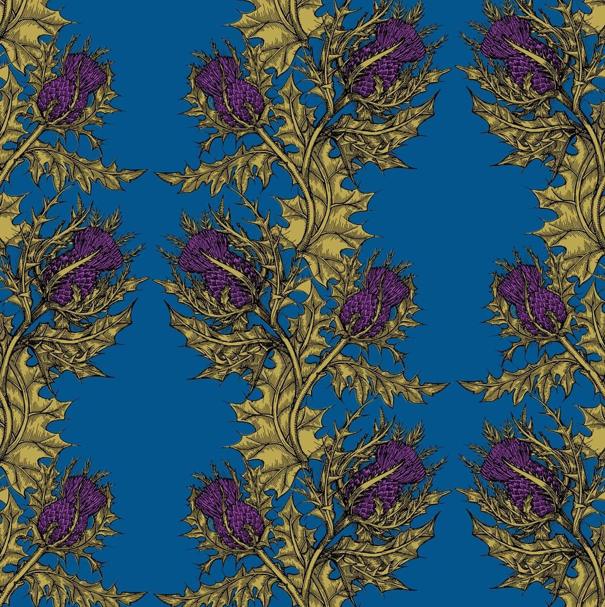 Gold & Purple on Royal Blue