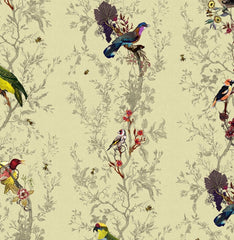 Multicolored Birds on Antique Yellow