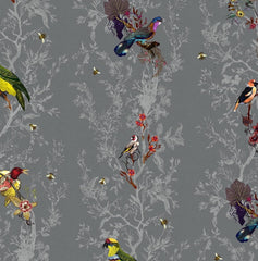 Multicolored Birds on Charcoal