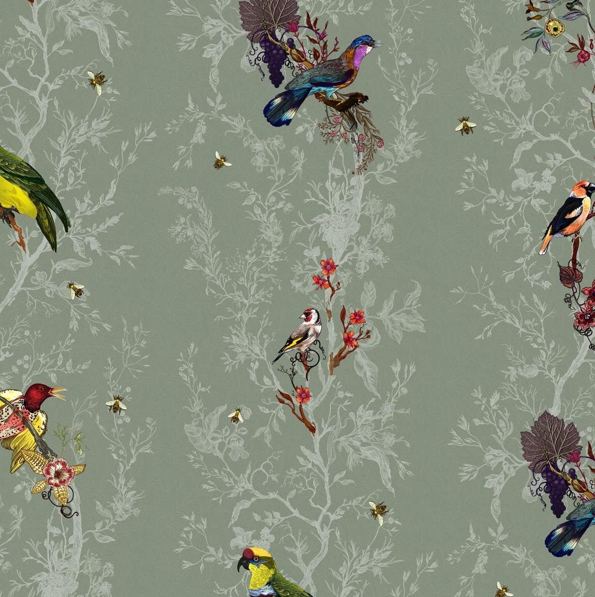 Multicolored Birds on Sage