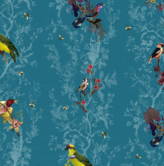Multicolored Birds on Teal