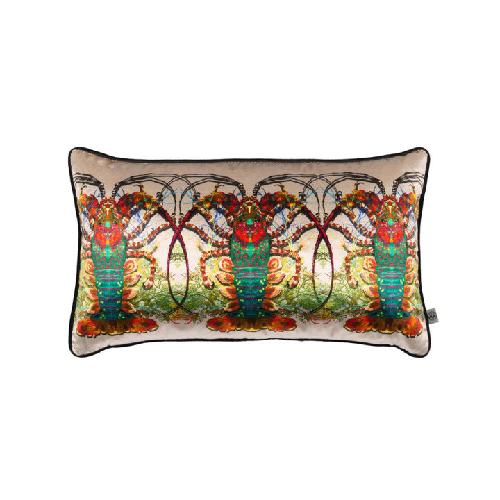 Crustacean Row Velvet Pillow