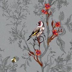 Multicolored Birds on Grey