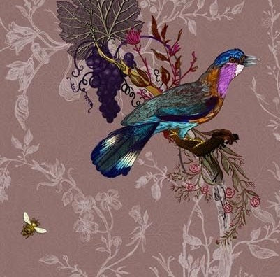 Multicolored Birds on Mauve