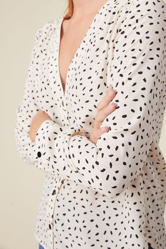Kaya Silk Blouse in Ivory Doucet Dot