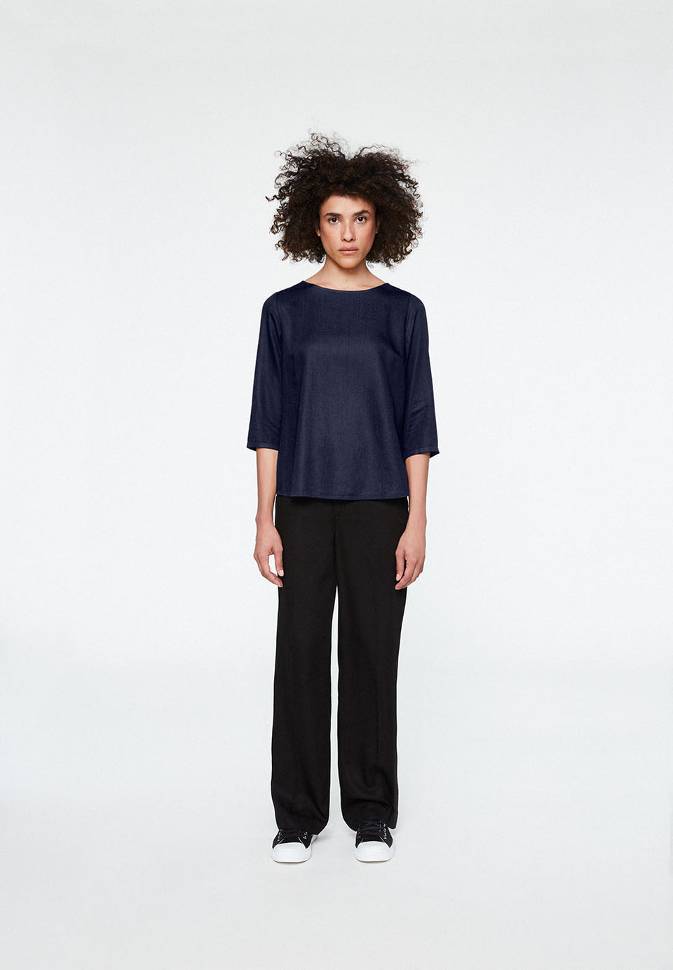 Heddaa Bow Blouse in Dark Navy