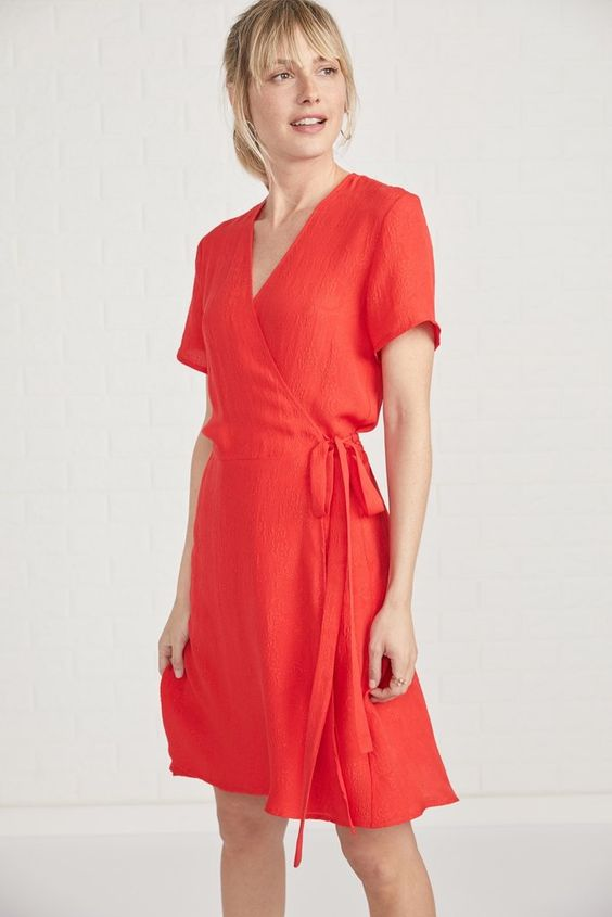 Coral Wrap Dress in Red
