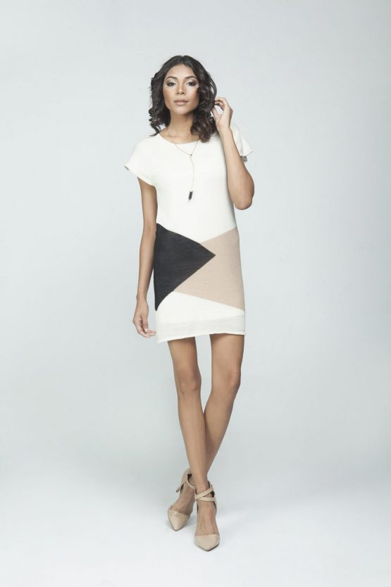 Ava Dress - White, Black & Tan