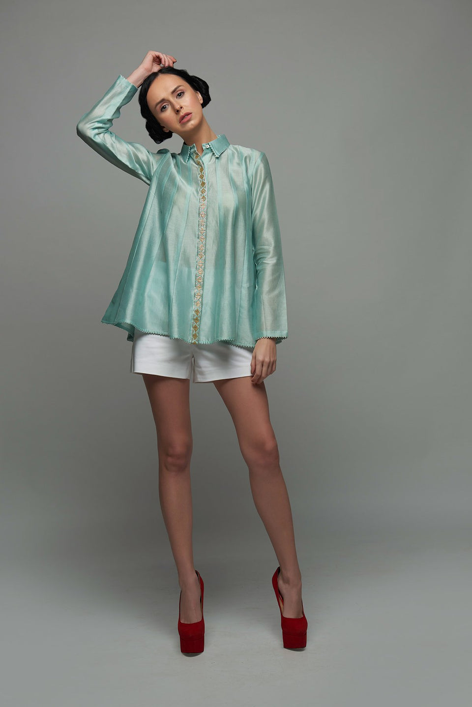 The Arcadia Blouse in Aquamarine