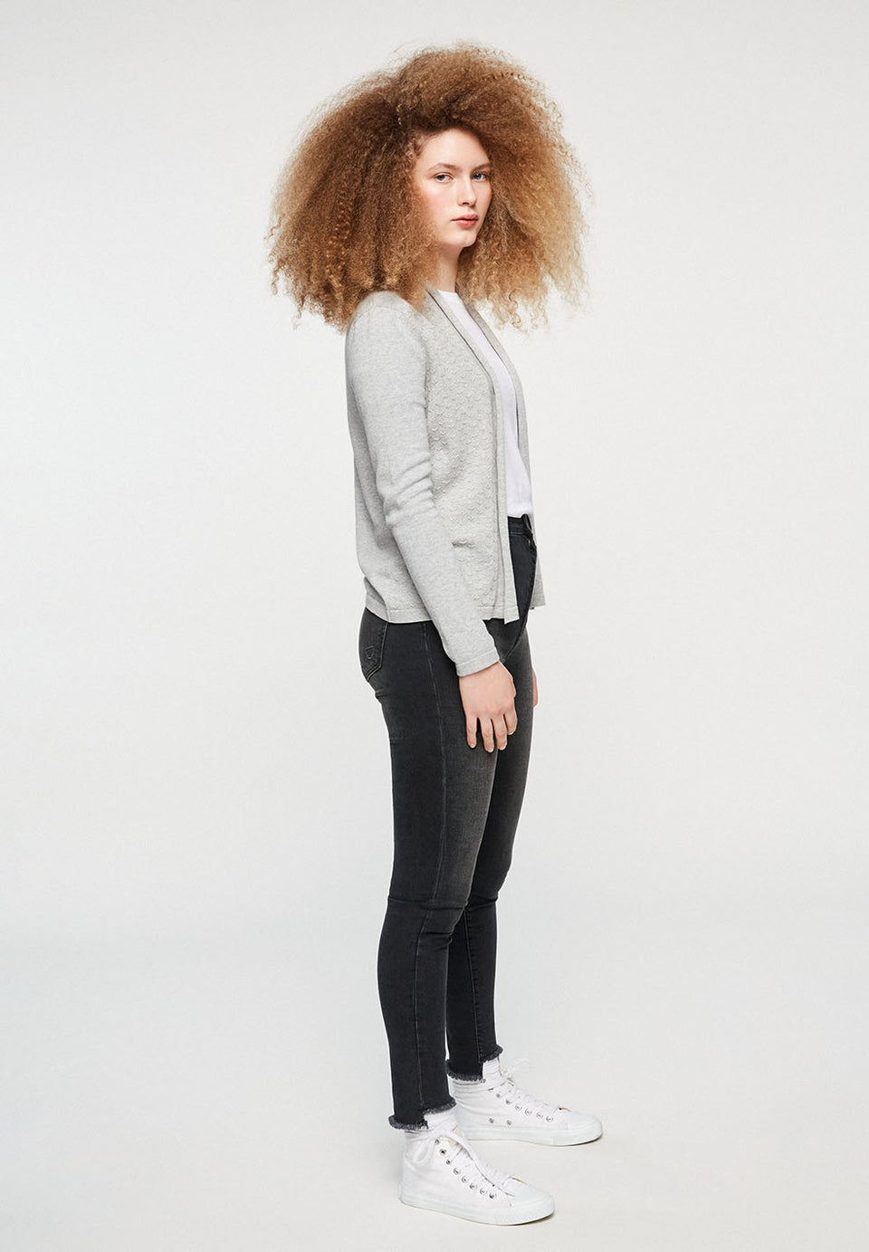 Brindaa Marks Cardigan in Light Grey