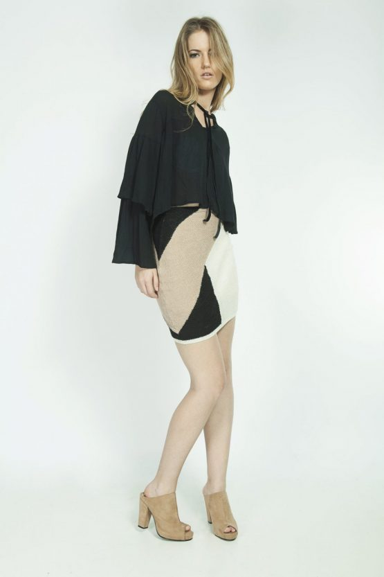 Louise Skirt in Color Tan and Black