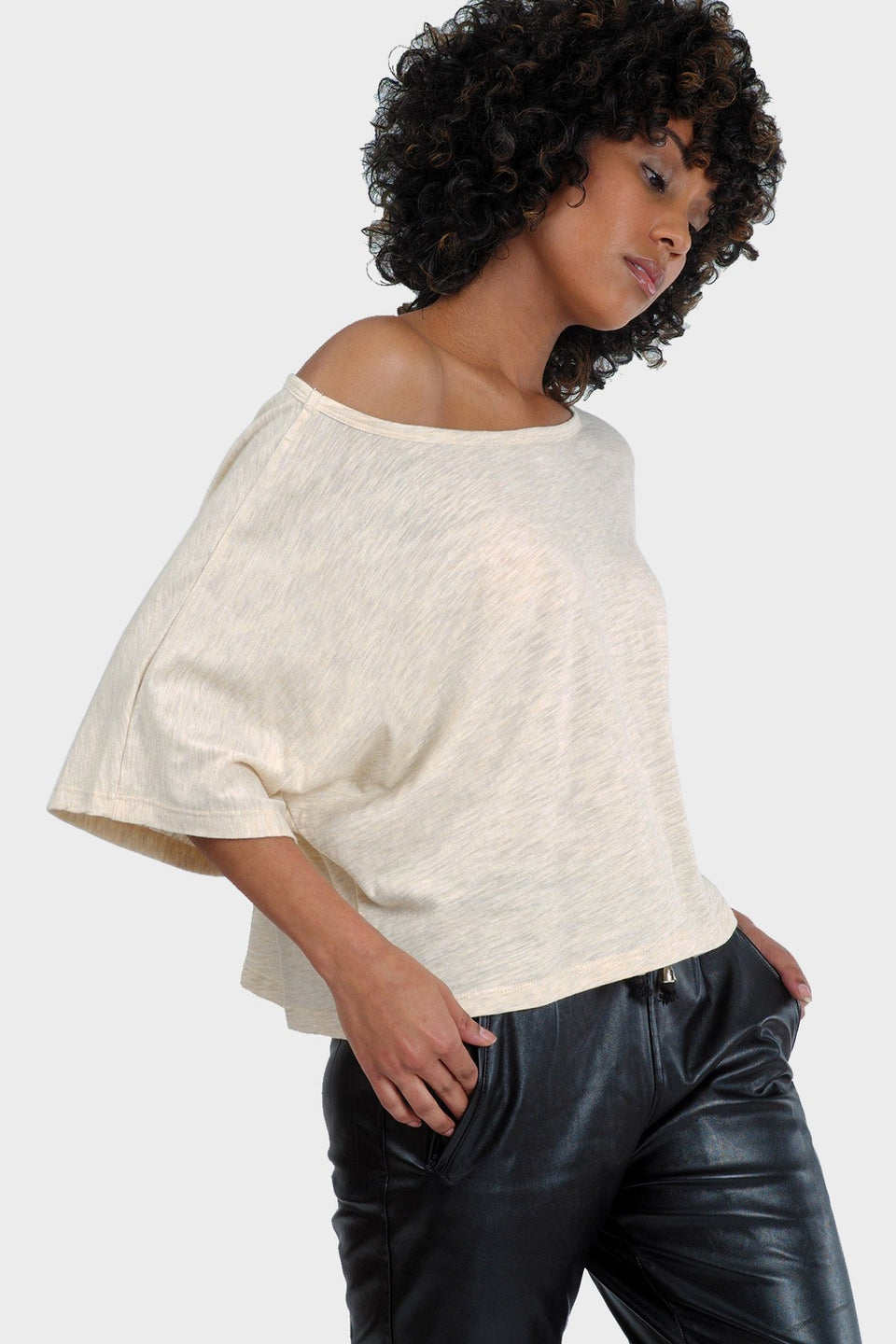 Lumi Crop Top in Heather Almond