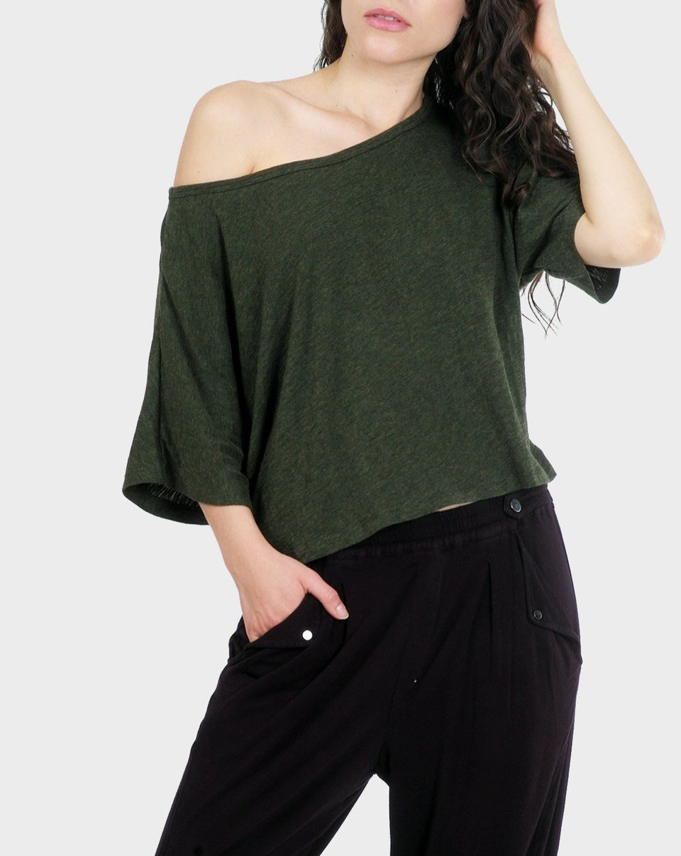 Lumi Crop Top in Heather Forest
