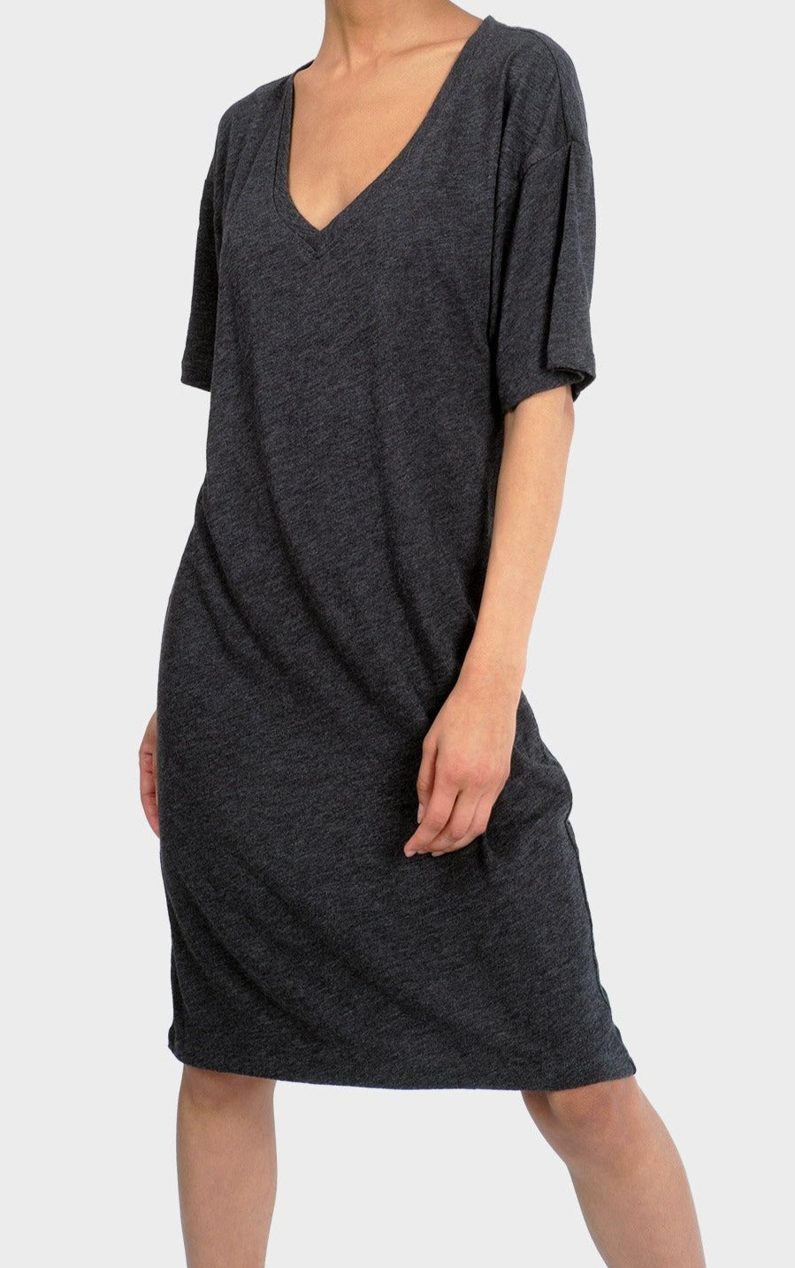 Mika T-shirt Dress in Heather Charcoal