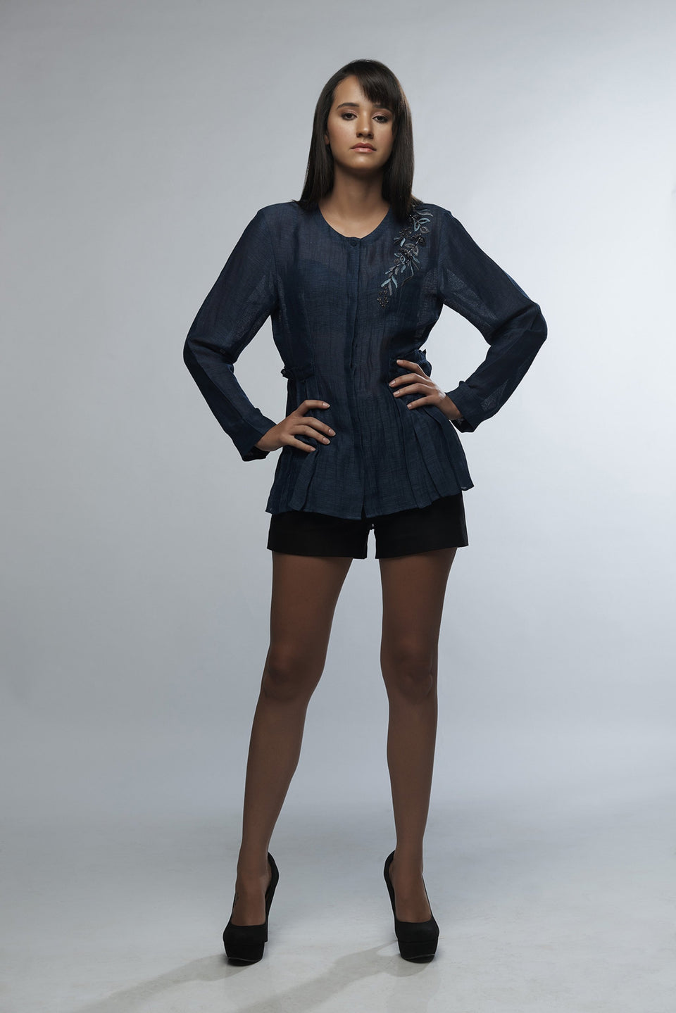 The Azure Blouse in Navy Blue