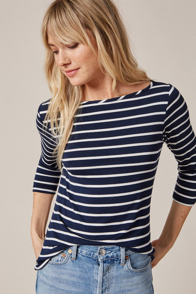 ¾ Francoise Sleeve Top in Basque Stripe