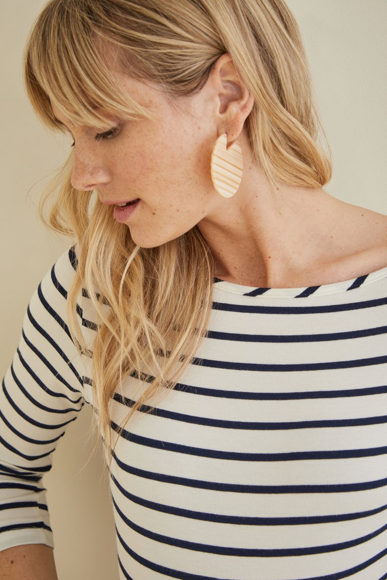 ¾ Francoise Sleeve Top in Marine Stripe