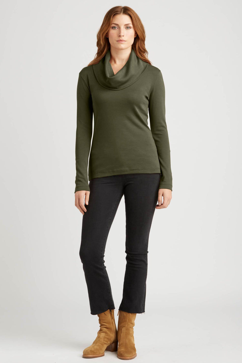 Cowl Neck Pullover in Forest Green