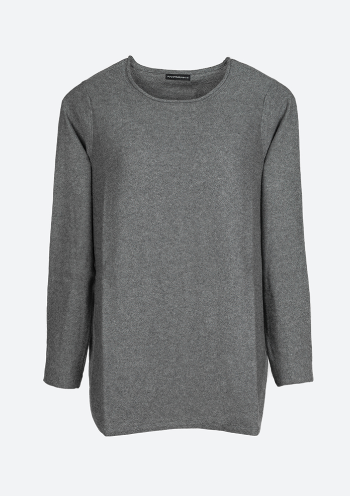 Basic Long Sweater in Charcoal