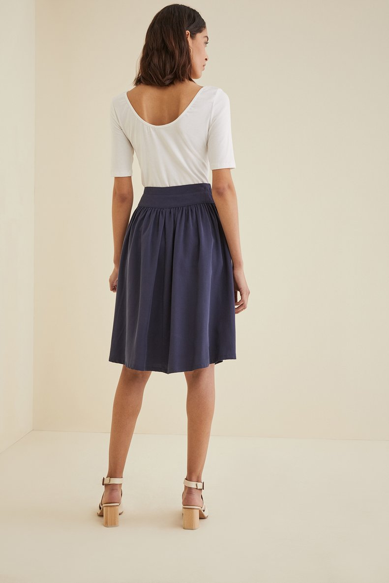 AMADI Exclusive Flared Skirt in Navy